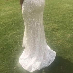 Ellie Wilde eggshell sparkly prom dress